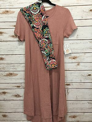 NEW LuLaRoe S Small Carly Mauve Pink & OS Leggings Paisley Floral Outfit! NWT!