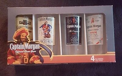 Captain Morgan Official Crew Gear 4 - 15oz Glasses NIB