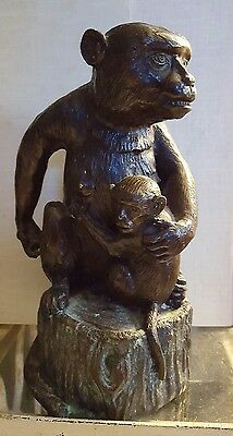 Bronze Monkey Holding Baby On A Stump Antique  HEAVY