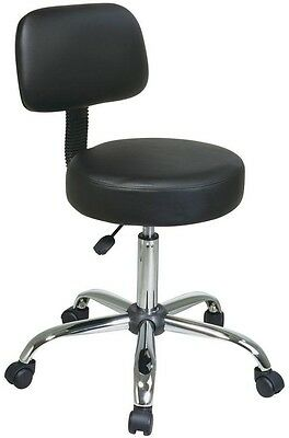 Thick Padded Swivel Stool Drafting Chair with Dual Wheel Carpet Casters In Black