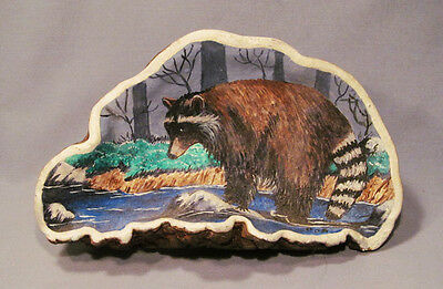 Vintage Signed Hand Painted on Fungus Mushroom Raccoon Foraging in River