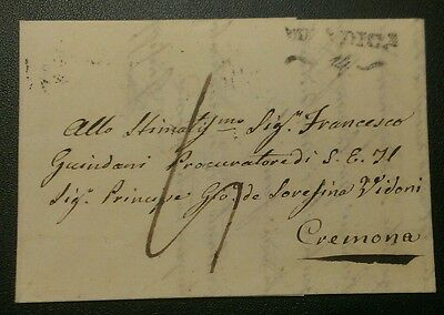 1835 Cremona Cover Letter Entire North Italy Superb!