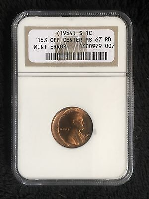 1954-S NGC MS67 Lincoln Wheat Cent Mint Error Off Center