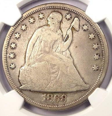 1868 Seated Liberty Silver Dollar $1 - NGC Fine Details - Rare Certified Coin!