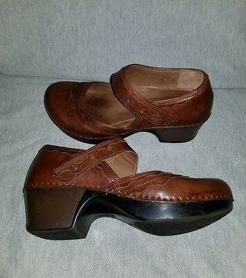 DANSKO Size 40 9.5 Brown Leather Mary Jane Womens Shoes Career Work Comfort Clog