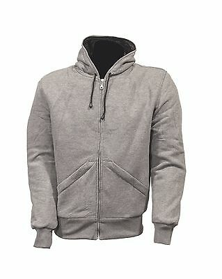GREY HOODIE MOTORCYCLE JACKET MADE WITH DUPONT KEVLAR Sizes S & M ONLY