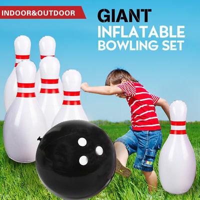 Jumbo Giant Inflatable Bowling Game Set Kids Fun Indoor Outdoor Waterproof