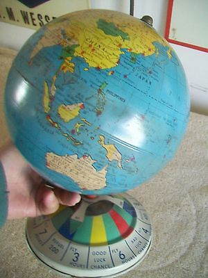 Vintage 1940'S REPLOGLE Tin Litho Globe From Magnetic Air Race Game