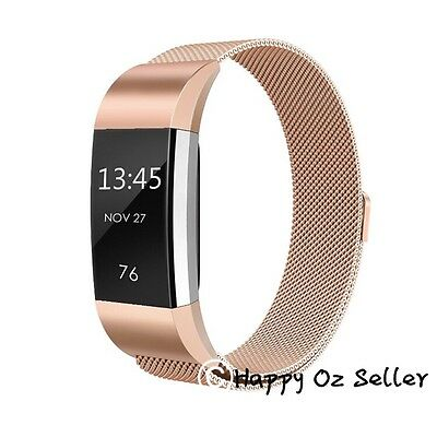 Fitbit Charge2 Bands Replacement Stainless Steel Magnetic Bracelet Rose Gold