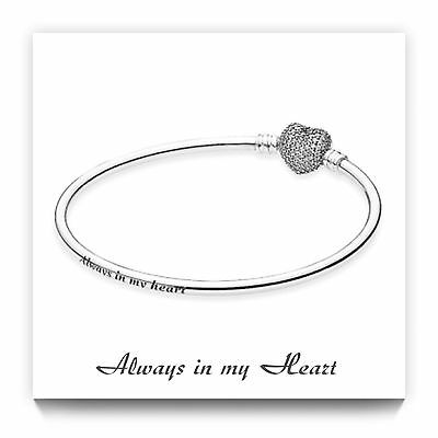Genuine S925 ALE Pandora Moments Always In My Heart Bangle 19cm