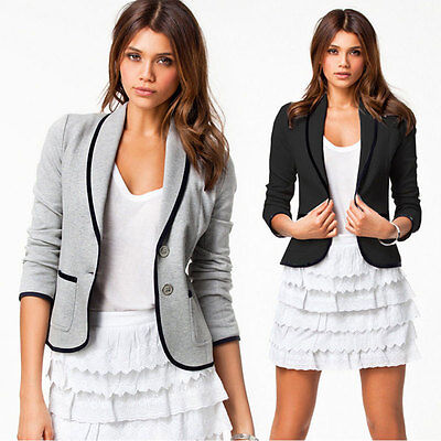OL Womens Formal Short Jacket Slim Casual Long Sleeve Button Coat Top Outerwear
