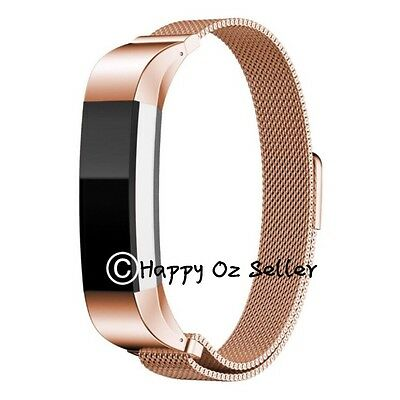 Fitbit Alta Bands Replacement Stainless Steel Magnetic Bracelet Rose Gold