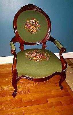 《●MAGNIFICENT●》1800s Genuine Parlor Victorian Needlepoint Tapestry Arm Chair