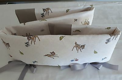 Baby Crib Teething Cot Rail Cover 100% Cotton BAMBI. Off White on Reverse.
