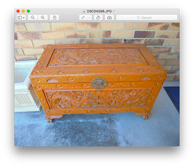Vintage Large Camphor Handcarved Wood Chest / Glory box / Blanket Box