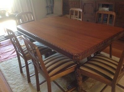 Antique Oak Dining Table With Chairs