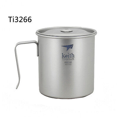 Keith 550ml  Titanium Water Cup Fixed Handle Outdoor Camp Picnic Coffee Tea Cup