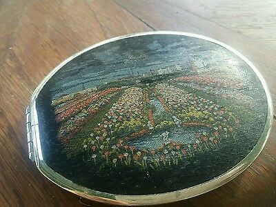 Vintage powder compact with fabric both sides