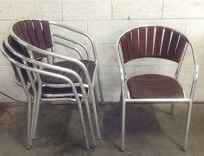 USED Commercial Cafe Restaurant Stackable THICK GAUGE ALLOY & TIMBER SLAT Chairs