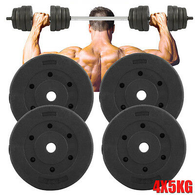 4x5KG Weight Plates Barbell Dumbbell Plate Gym Weights Fitness Exercise Sport AU