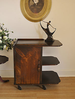 Antique Art Deco Drinks Trolley / Auto Trolley / Tea Trolley / Cocktail Cabinet