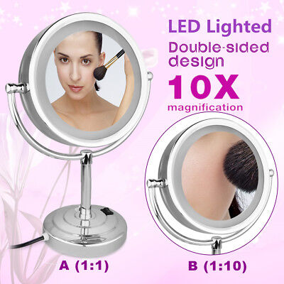 "8.5"" LED Lighted Stand Makeup Mirror Beauty 10x Magnifying Double Side Cosmetic"