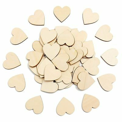 50 Pcs Wooden Wood Heart shape Embellishment Love Home Art Craft Decor 2-4cm AU