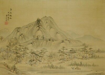 Hanging Scroll Japanese Painting Landscape Japan Picture Agriculture Art  a555