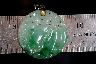 BU0239 China natural untreated vintage emerald jade, jadeite pendant