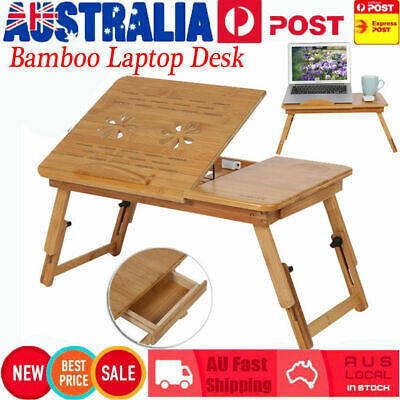 Folding Wood Bamboo Laptop Table Desk Notebook Book Reading Bed Tray Stand XA