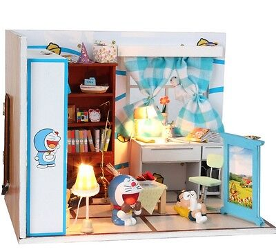 DIY New Wooden Dollhouse miniature Doraemon Furniture With LED Light toys Gift