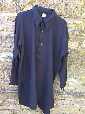 "Black Vintage Shirt with Spearpoint Collar Real Welsh 100% Wool 16 1/2"" collar"
