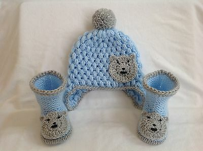 Hand knitted baby boy hat and booties   0-3 months