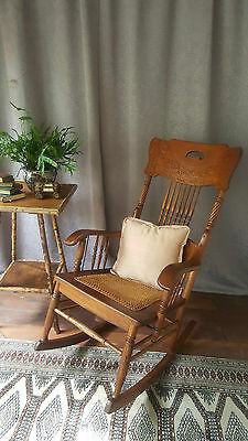 American Oak circa 1900 Pressed Spindle Back Rocking Chair / Rocker