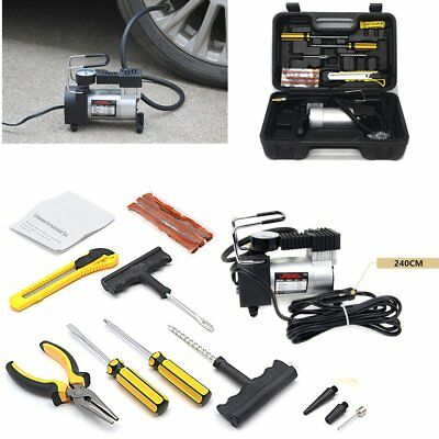 Heavy Duty Portable 12V Electric Car Tyre Inflator Air Compressor+Tyre Patch Kit