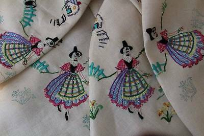 Gorgeous Vintage  Irish Linen Tablecloth Hand Embroidered Welsh Ladies Incomplet