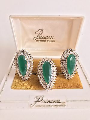 35.27 Ct Natural Colombian Emerald Jewelry Set Ring Earrings Gold And 925 Silver