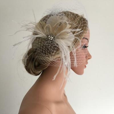 Retro Feather Crystal Fascinator Wedding Bridal Birdcage Face Veil Hair Clip