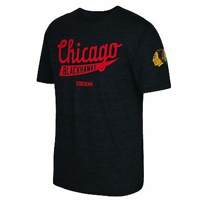 Adults Small Chicago Blackhawks CCM Strike First T-Shirt H253