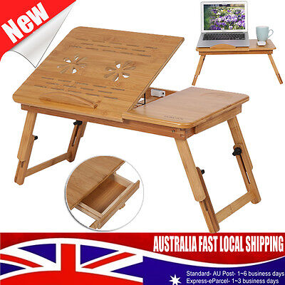 Multi Function Bamboo Laptop Bed Desk Table Foldable Cooling Hole Holder Tray AU