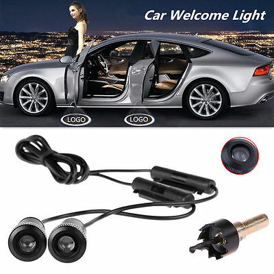 2x Universal Bright LED Car Door Logo Lamp Ghost Shadow Welcomd Light Free Drill