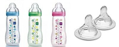MAM Baby Bottle 330ml Single with Extra 2 Pack of X-Cut Teats for 6 months+