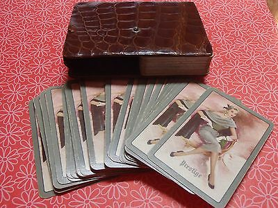 Vintage Two Pack Playing Card Set Prestige Deco Ladies Faux Crocodile Case