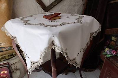 "Stunning Vintage Tablecloth Cream Crochet Panels and Trim 33"" sq"