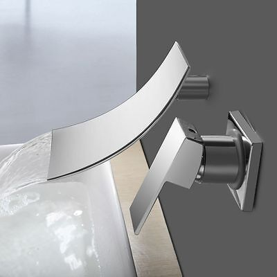 Waterfall Bathroom Bath-tub Faucet Basin Sink Mixer Tap Wall Mount Contemporary