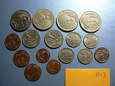 16x lot NEW ZEALAND decimal coins 20, 10, 5, 2, 1 cents 1960-1980s