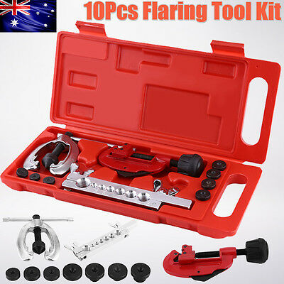 10pcs Double Flaring Tube Pipe Flare Tool Kit Brake& Air Lines Plumbers Tool AU