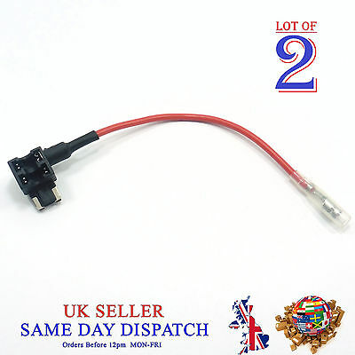 2x Add A Circuit Piggy Back Fuse Tap MICRO Blade Holder 12V Car Motor Motoped