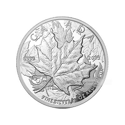 1 oz 2013 25th Anniversary of the Maple Leaf High Relief Piedfort Silver Proof C
