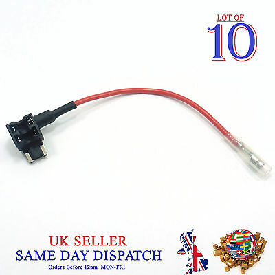 10x Add A Circuit Piggy Back Fuse Tap MICRO Blade Holder 12V Car Motor Motoped